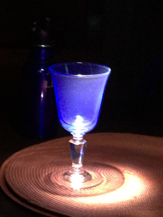 blue wine glass in the dark, by my son