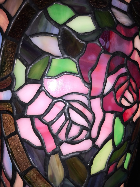 detail of rose on a Tiffany Glass lamp