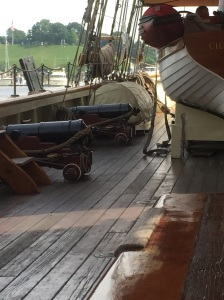 Replica War if 1812 privateer ship with cannons